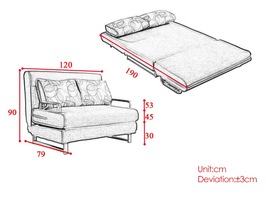 MRMR 1.2m折疊梳化床可拆洗MR -826啡色