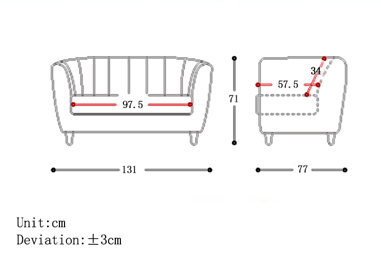 MR2座位布藝梳化