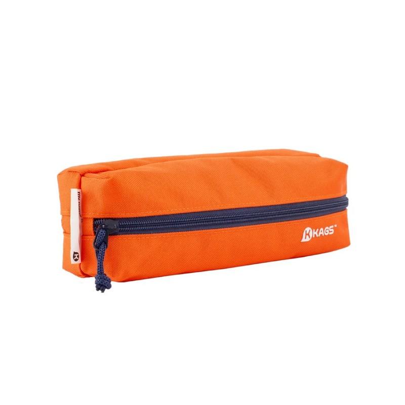 KAGS BRETT 系列超輕便雙分隔內裱膠筆袋 - 橙色