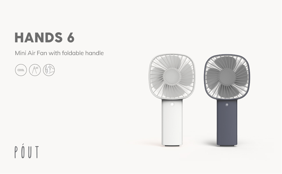 PoutHands 6 行動x桌上兩用風扇 藍