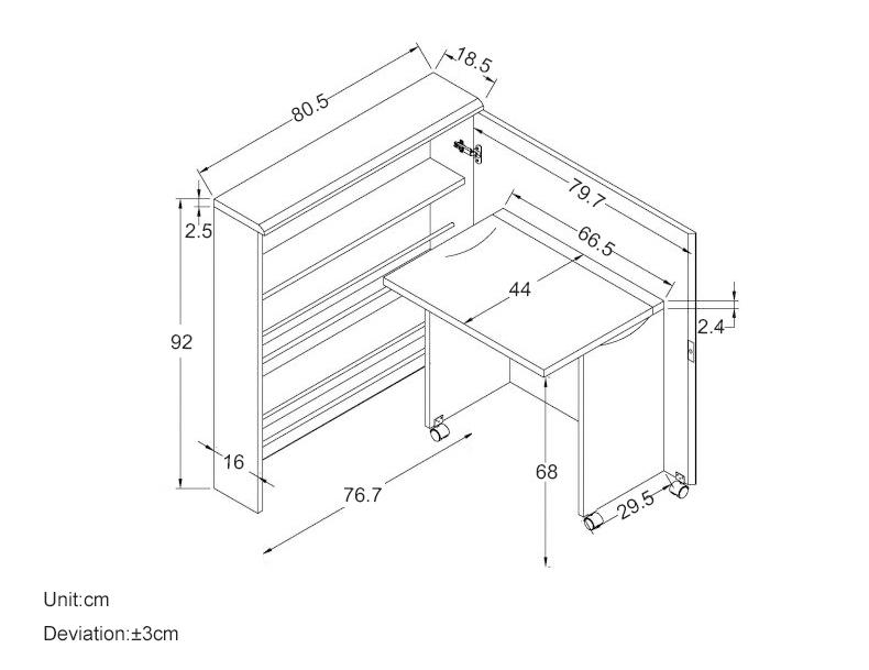 MR可摺疊多功能一體收納書桌組合MR-WD818