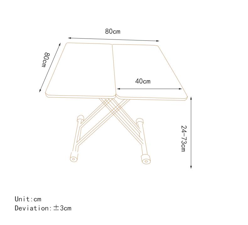 MR多功能茶機升降桌MR-N4_80 黑色鋼化玻璃 80CM