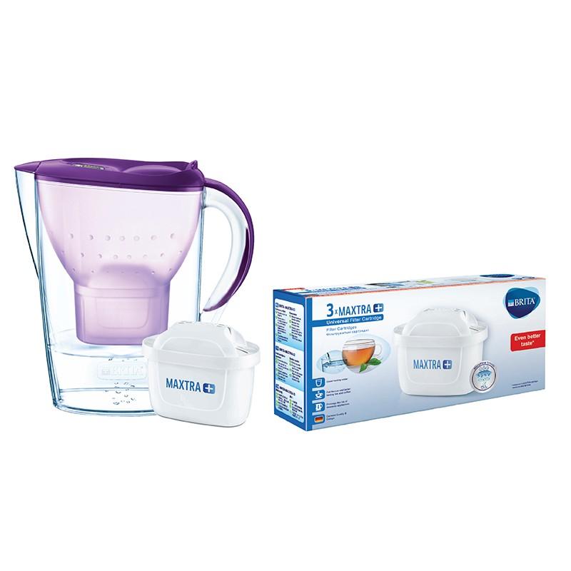 BRITA丁香紫色濾水壺 2.4L 內附1個濾芯及三件裝濾芯 (供應商發貨, 到貨將另行通知取貨)