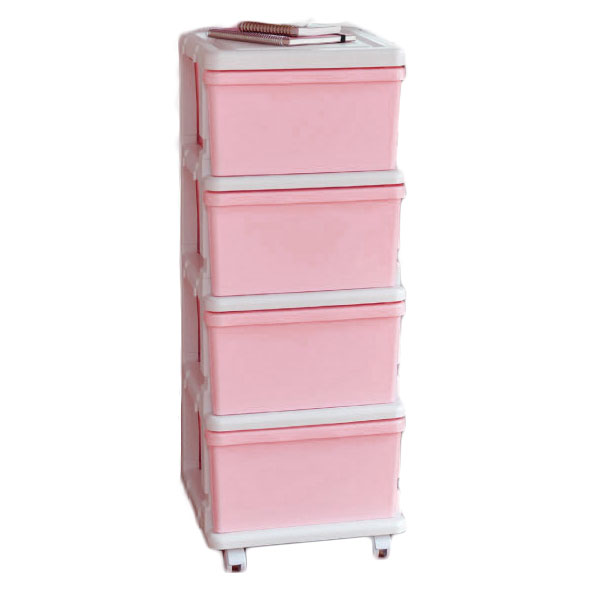 JEJ組合式有轆4 層收納儲物櫃 (粉紅)