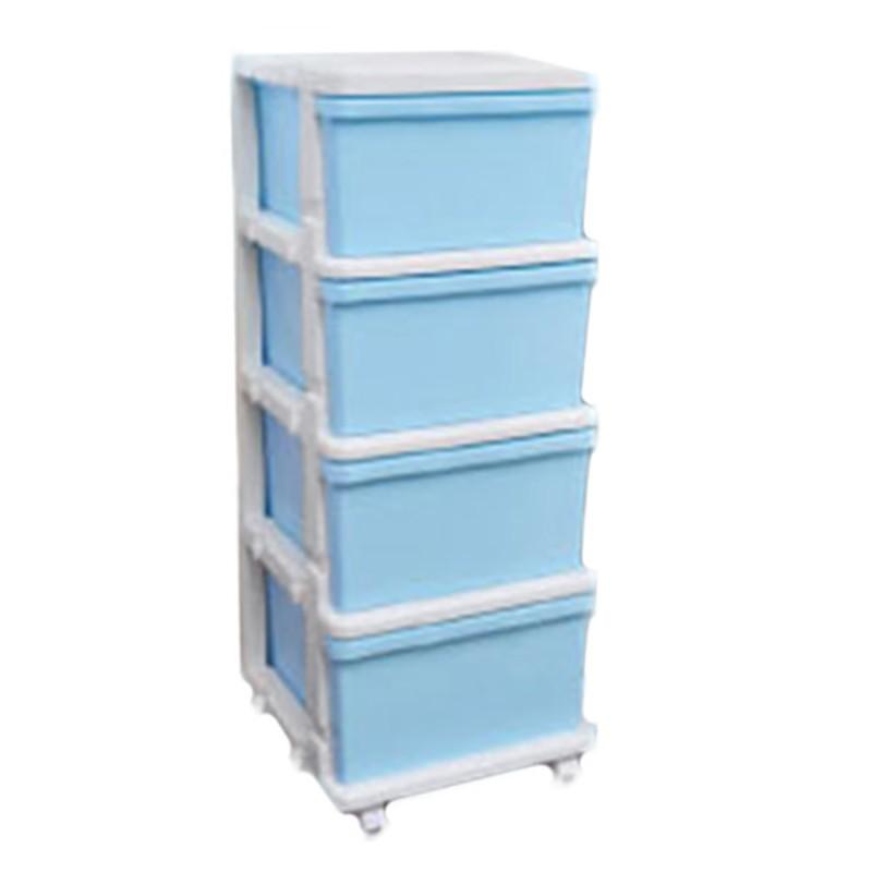 JEJ組合式有轆4 層收納儲物櫃 (粉藍)