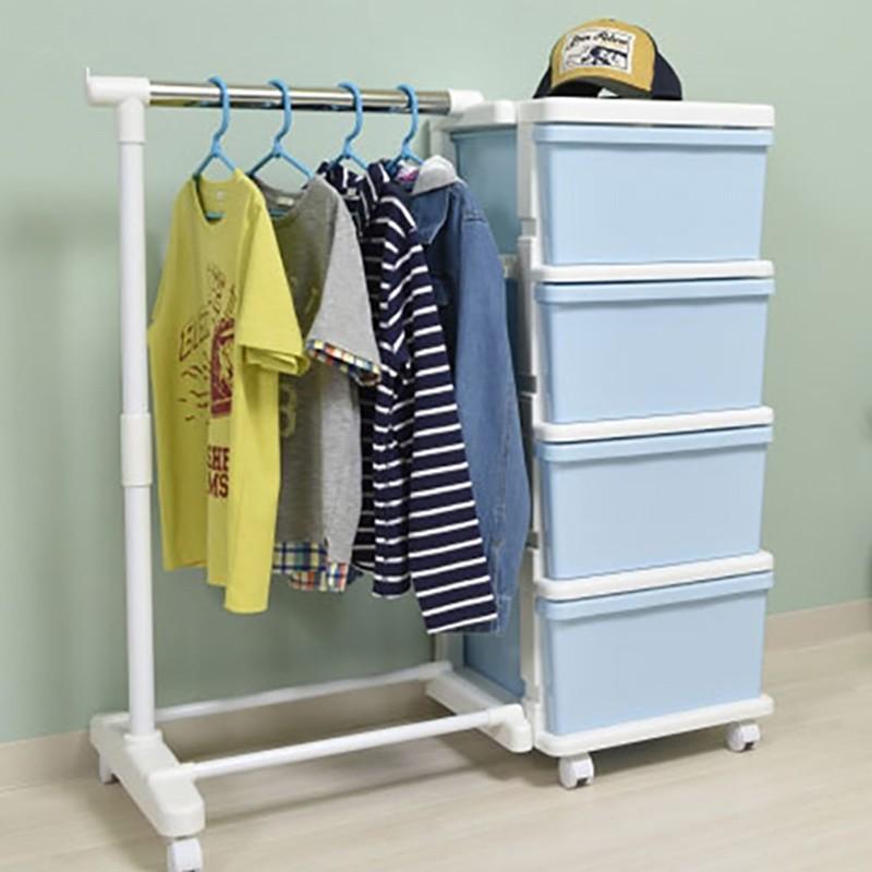 JEJ組合式有轆4層櫃連掛衣架 (粉藍)