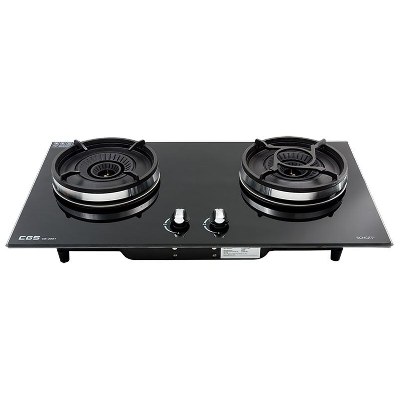 皇冠牌CB2801B黑色玻璃面嵌入式石油氣雙頭煮食爐 (需另付安裝費)