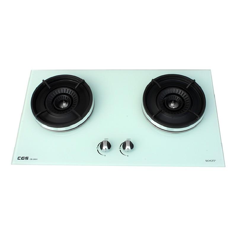 皇冠牌CB2801W白色玻璃面嵌入式煤氣雙頭煮食爐 (需另付安裝費)