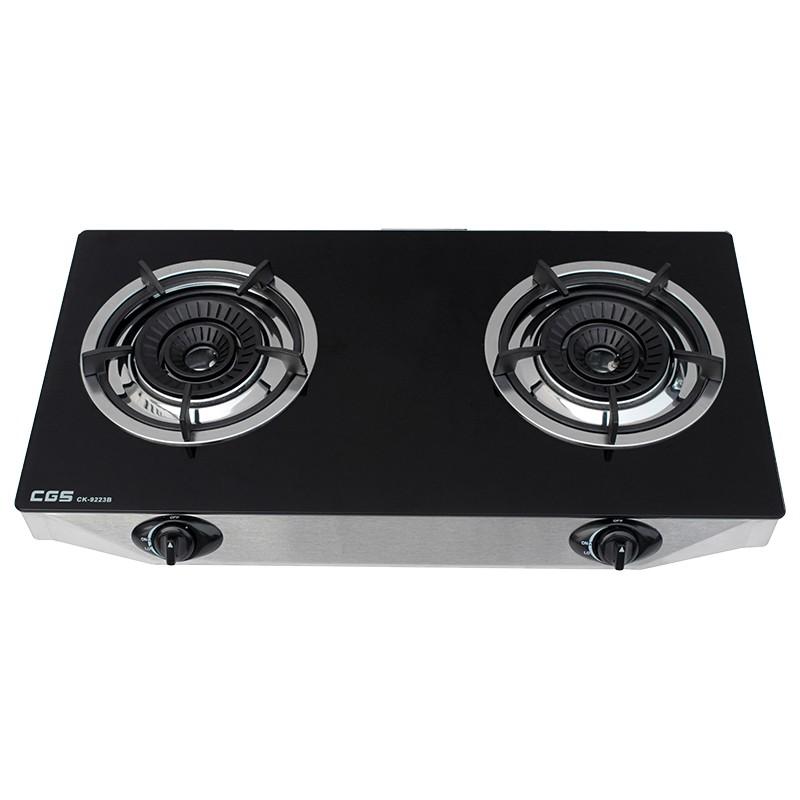 皇冠牌CK9223B 黑色玻璃面煤氣雙頭煮食爐 (需另付安裝費)