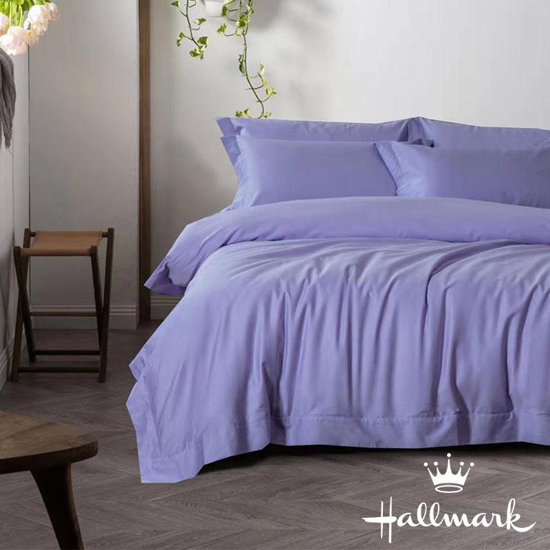HALLMARK100%全棉加大床笠連枕袋 - 紫