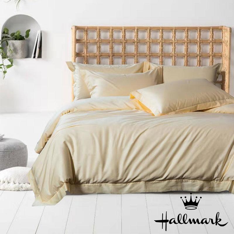 HALLMARK100%全棉雙人床笠連枕袋 - 米黃