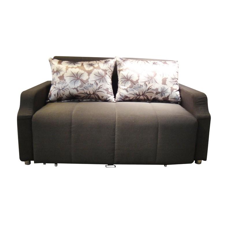 EC020910布藝梳化床 (啡/花圖案)