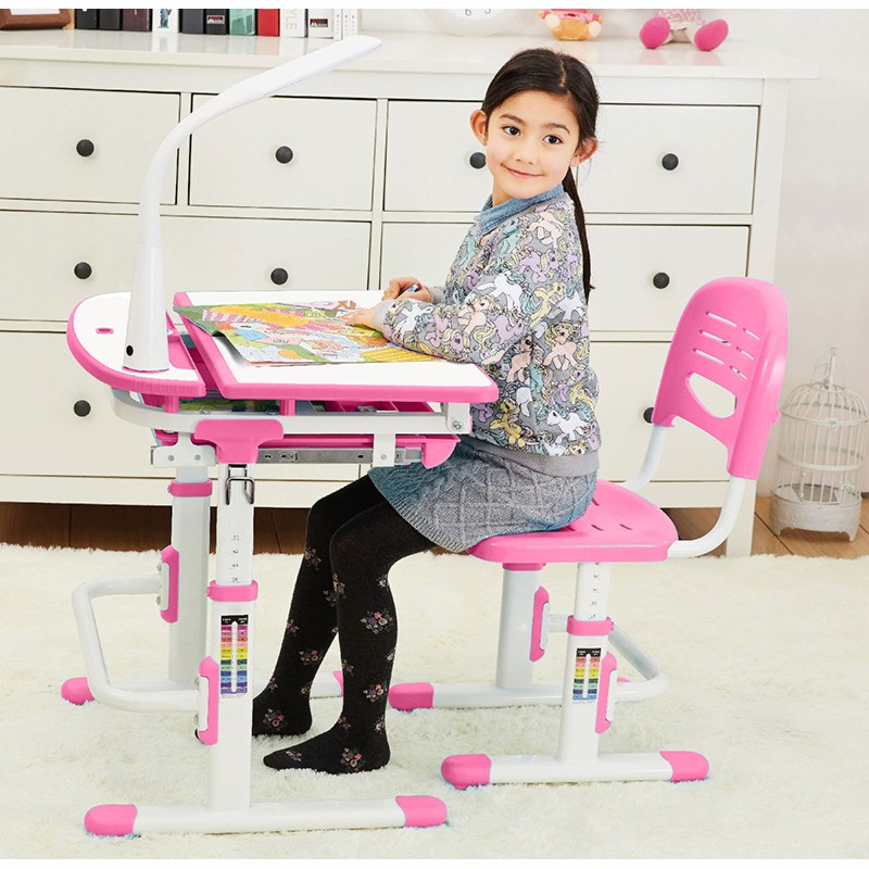 FreemaxFREEKIDS迷你兒童學習套裝粉紅色  (加配夾桌書架+閱讀架+LED燈)