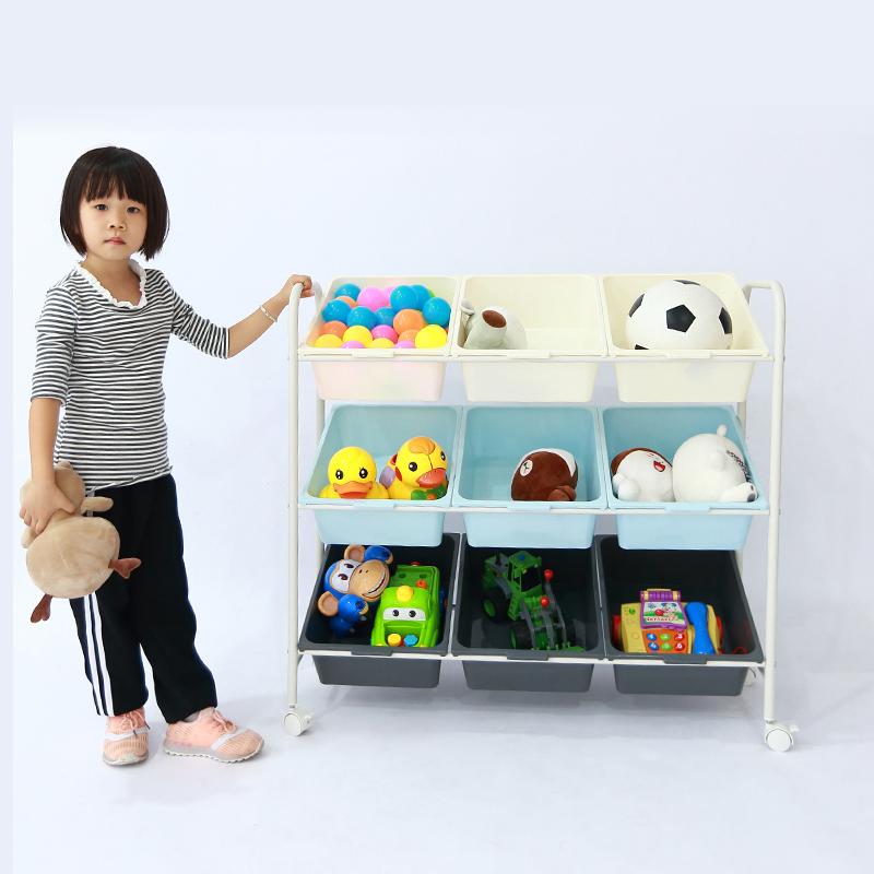 MR兒童玩具收纳架JSZ004-2藍+灰+白