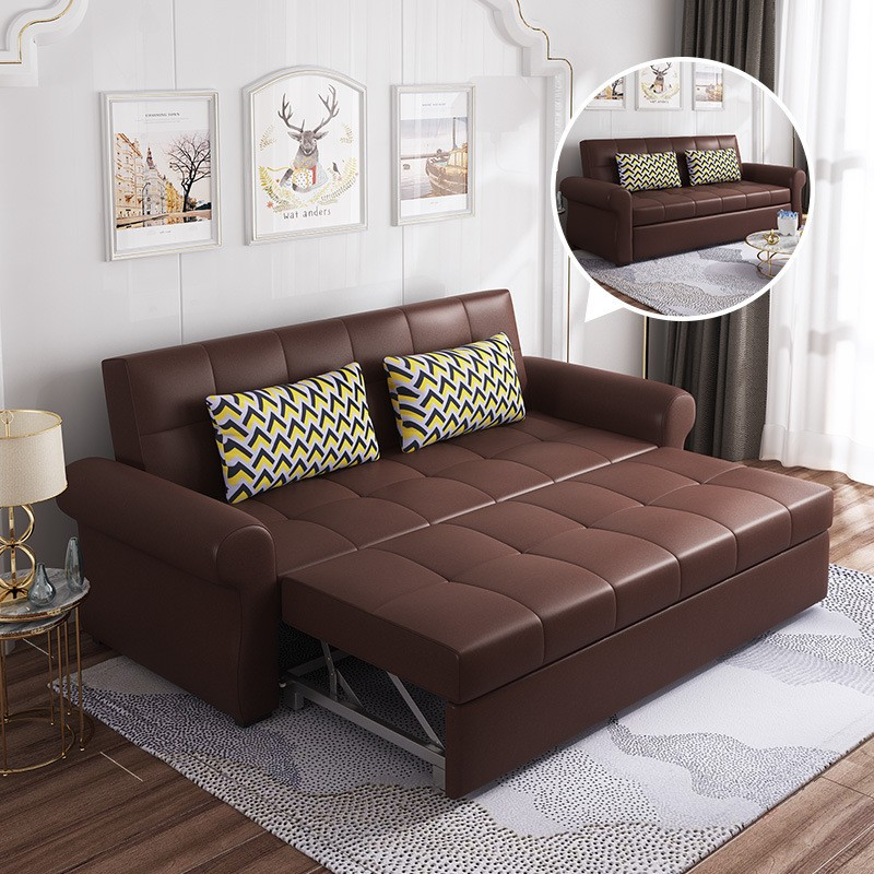 MR多功能超纖皮1.9米三座位活動沙發床MR-7250A棕色