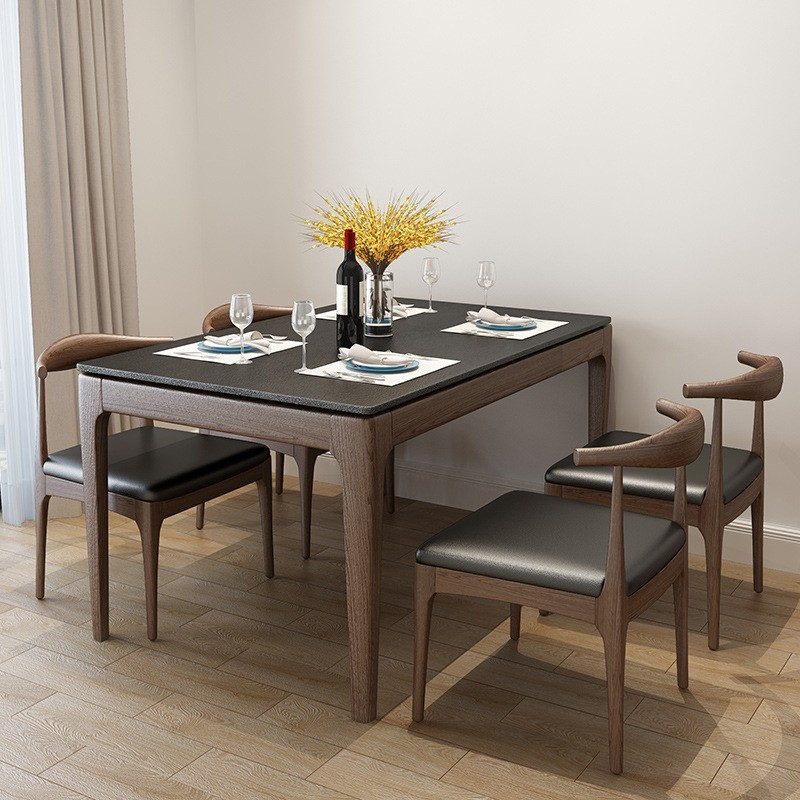 MR實木火燒石餐桌130CM MR-A08黑色(不包括餐椅)
