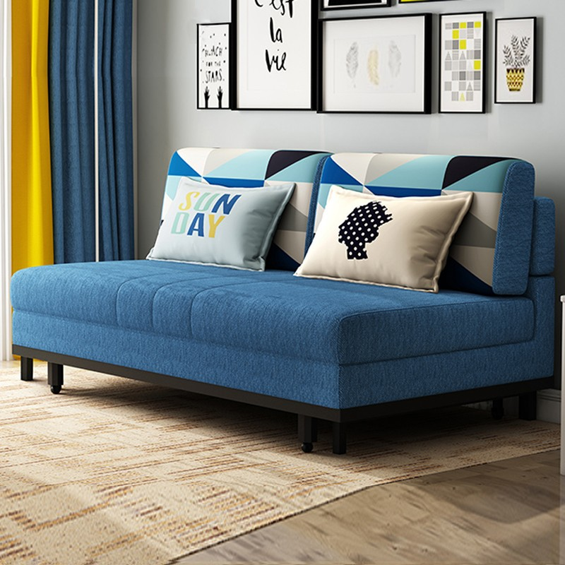 MR1.2米雙人位多功能折疊布藝沙發床MR-6010藍色