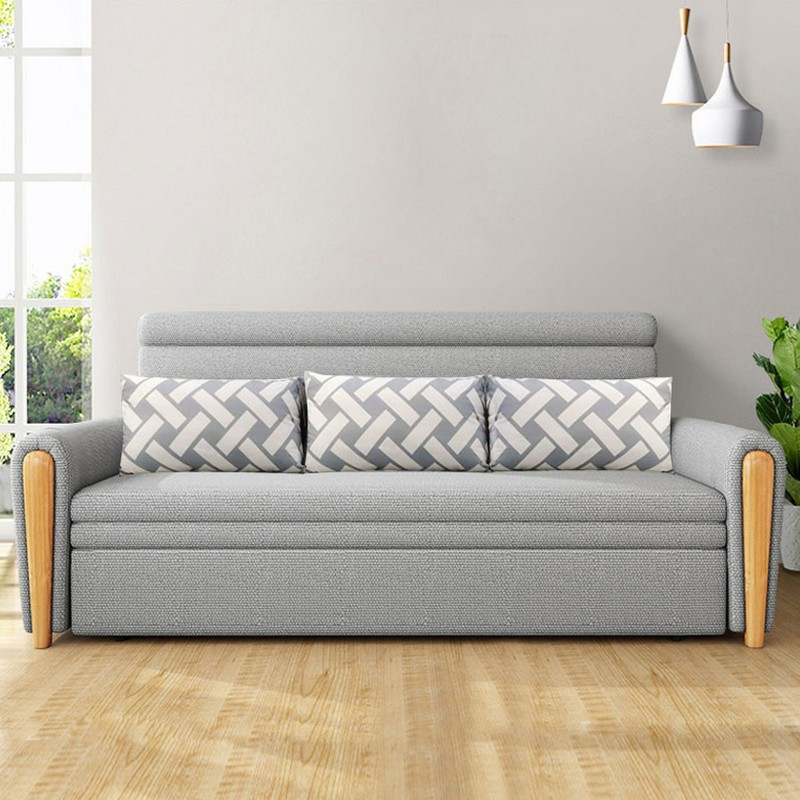 MR多功能可折疊儲物布藝沙發床130cm MR-801灰色