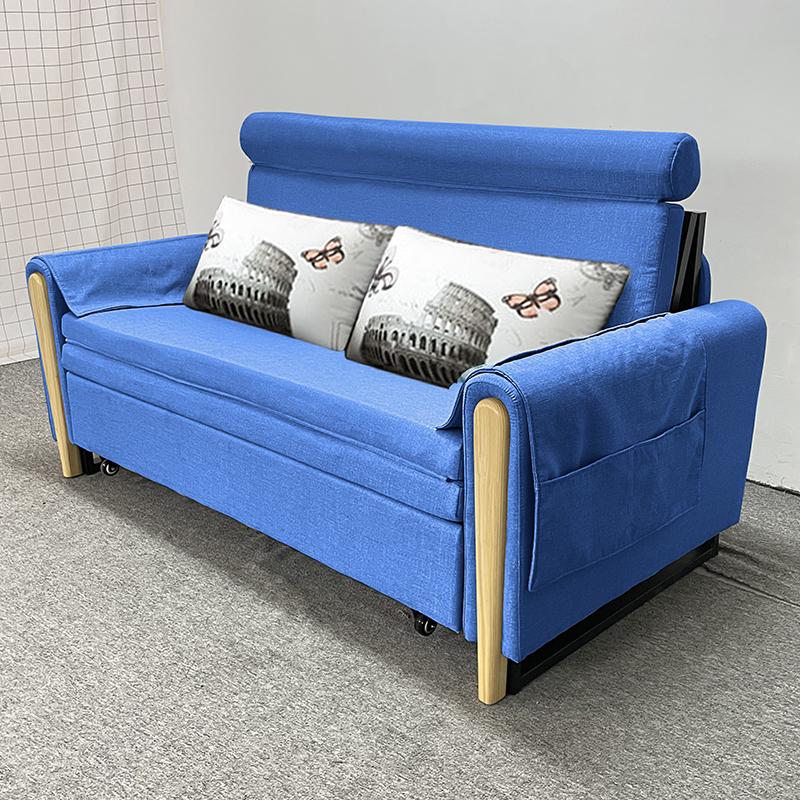 MR多功能可折疊儲物布藝沙發床130cm MR-801藍色