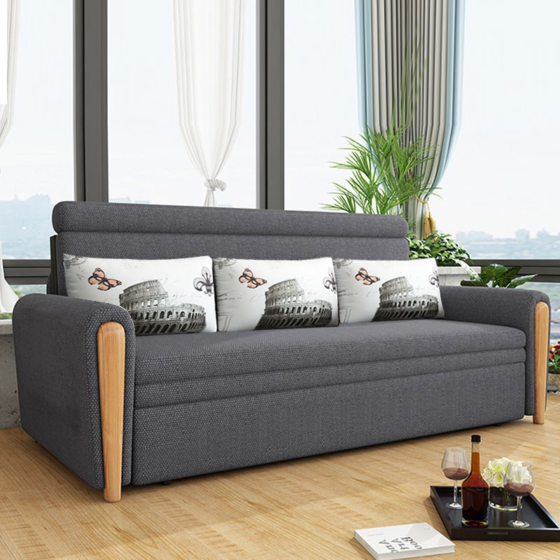 MR多功能可折疊儲物布藝沙發床130cm MR-801深灰色