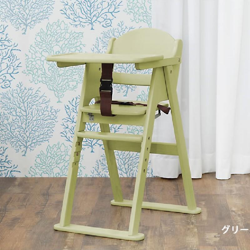 KATOJI摺疊兒童木製餐椅-綠色