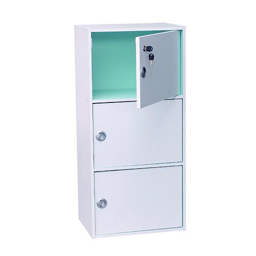EZ HOME三層有鎖三門柜 42x29x89cm