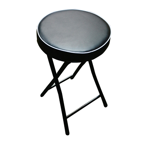 Japanhome圓形厚墊摺凳(黑)