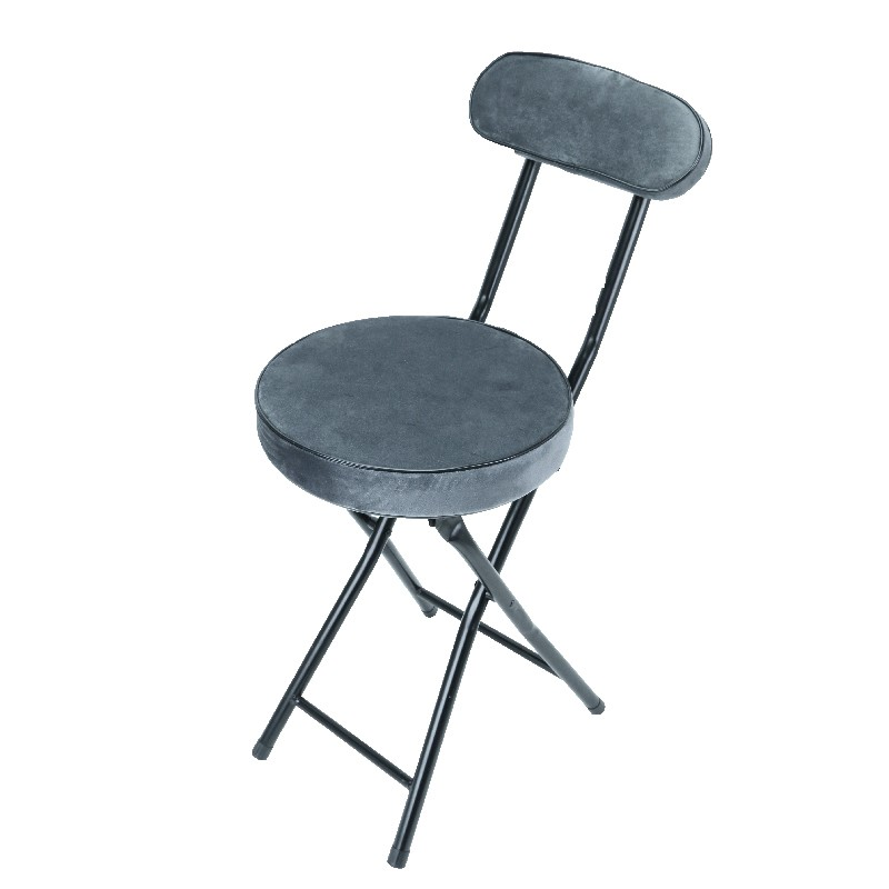 Japanhome圓形靠背摺椅(灰)