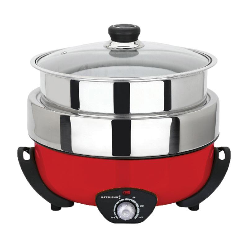 松井3合1電火鍋連不黏煎盤及蒸籠