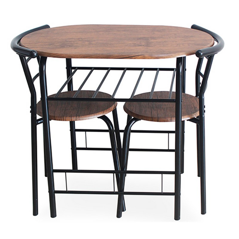 Japanhome長形圓餐桌連兩椅