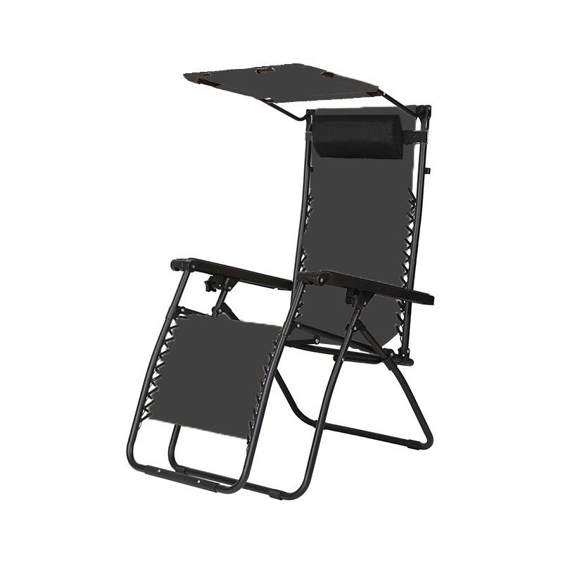 戶外摺疊躺椅戶外摺疊躺椅連太陽檔 (灰色)
