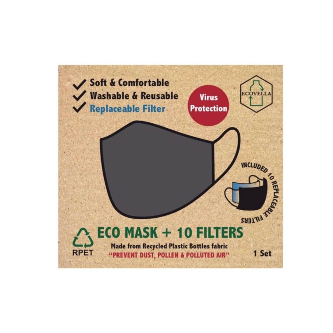 環保口罩中碼灰色1口罩套+濾芯10片