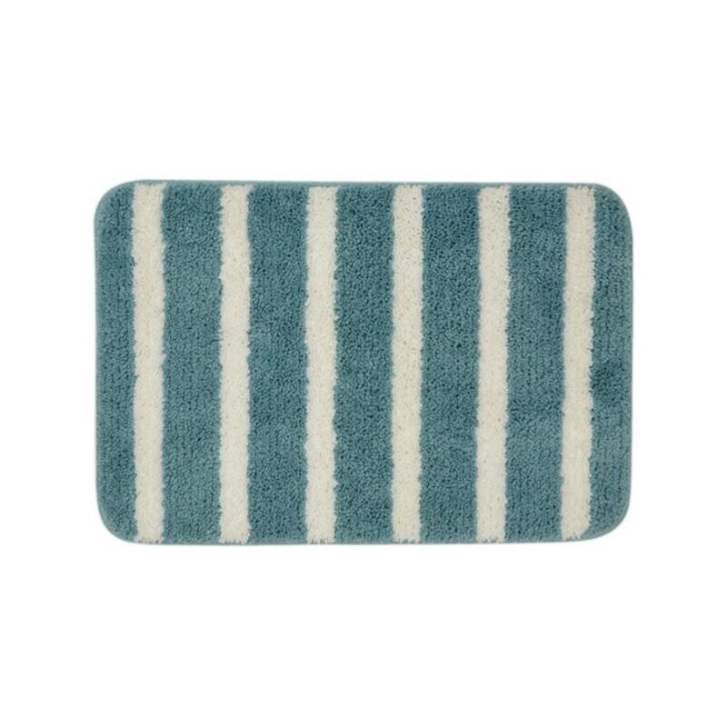 KATO粗條紋浴室地墊-藍綠