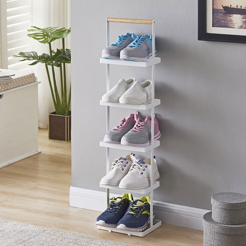 五層手柄式鞋架白色