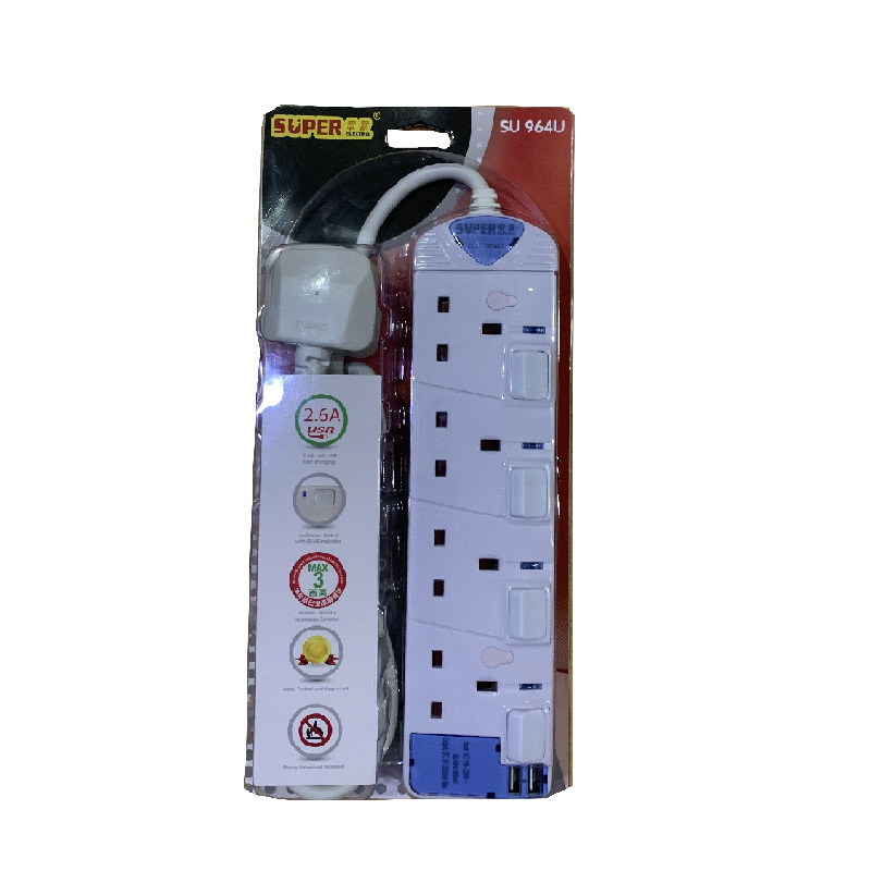 電霸牌4位獨立制雙USB拖蘇