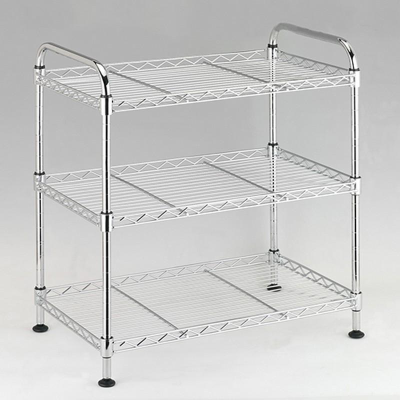 EZ HOME三層手柄長方鍍鉻鐵架