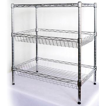 EZ HOME三層長形鍍鉻鐵架