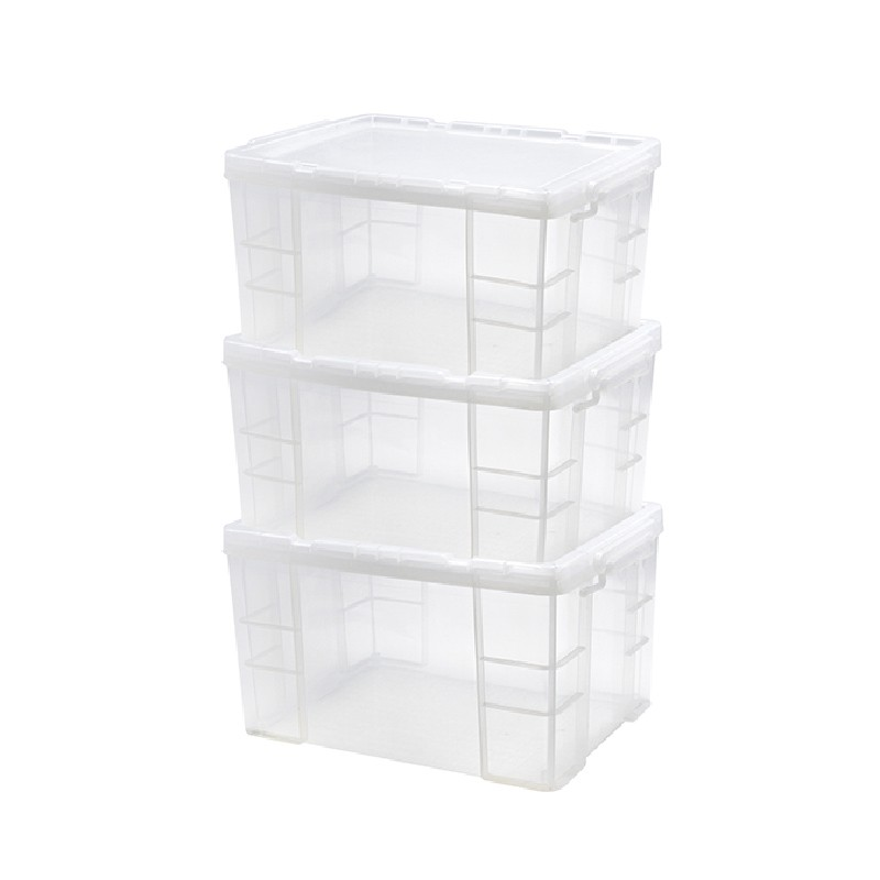 Japanhome三件裝特厚加硬直身儲物箱30L