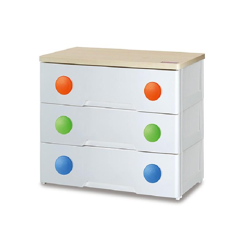 三層木板面膠柜三層木板面膠柜配彩色圓形手抽