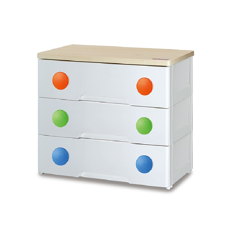 JAPANHOME 三層木板面膠柜配彩色圓形手抽