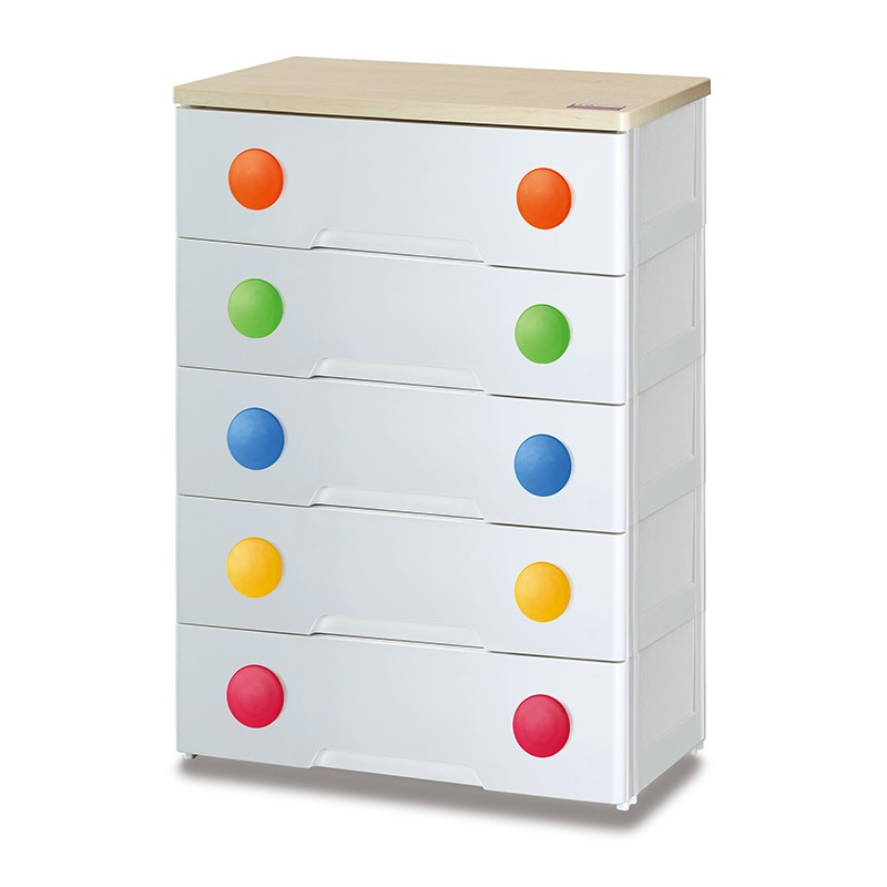 JAPANHOME五層木板面膠柜配彩色圓形手抽
