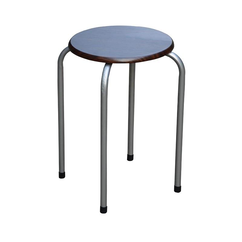 EZ HOME圓形木面疊凳(深啡色)