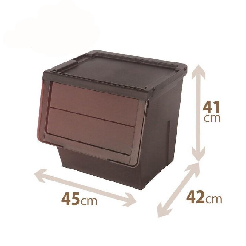 TENMA啡色揭門組合式儲物膠箱大