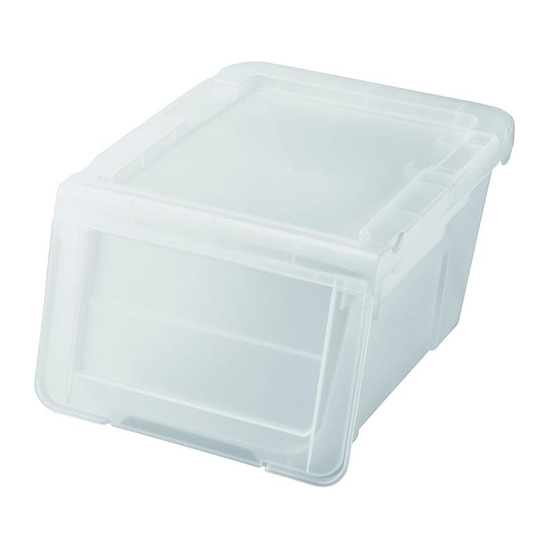 天馬透白色揭門窄身組合式儲物膠箱小