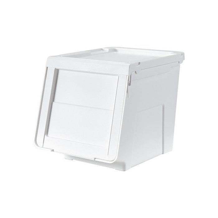 TENMA 純白揭門窄身組合式儲物膠箱中W30xD42xH31cm