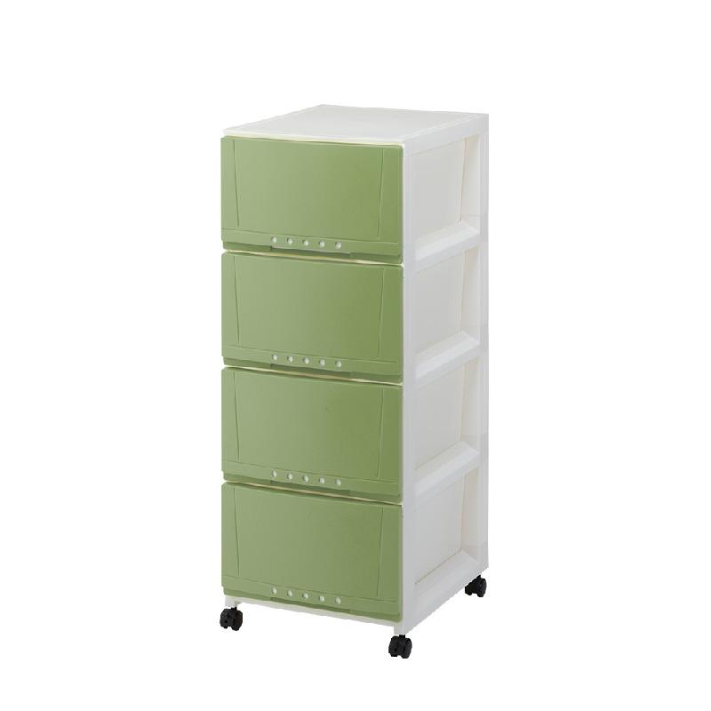 Tenma4層有轆膠柜(粉綠色)