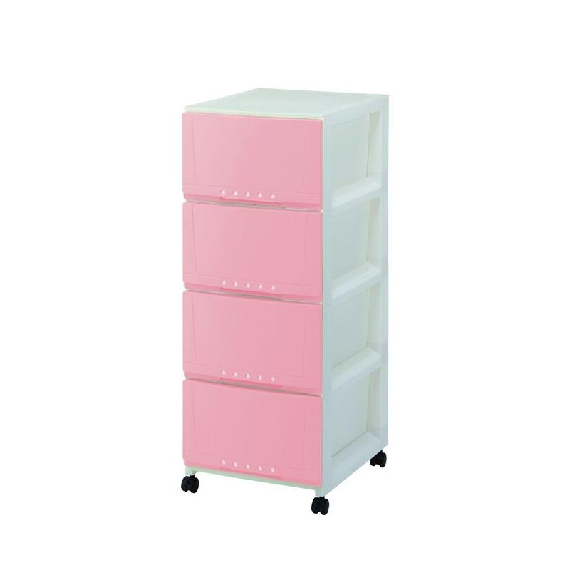 Tenma4層有轆膠柜(粉紅色)