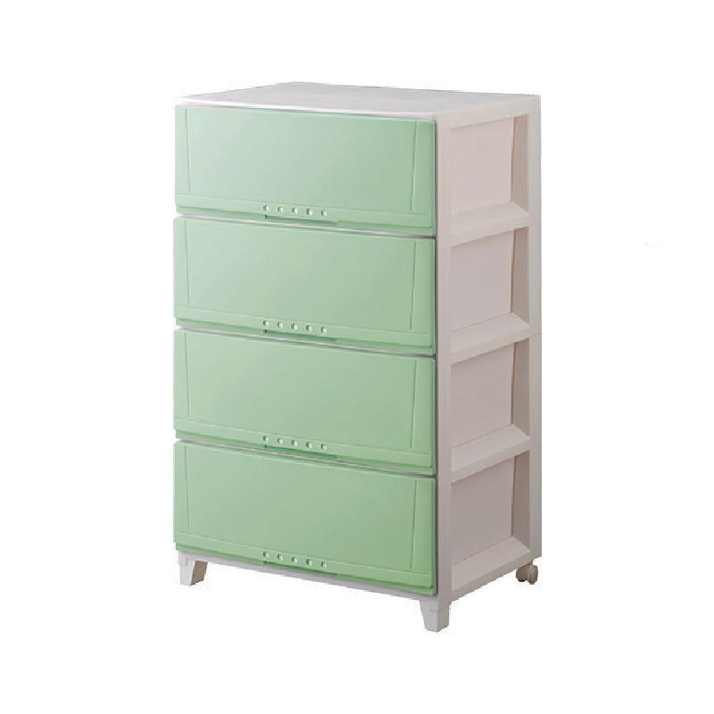 Tenma4層有轆闊身膠柜(粉綠色)