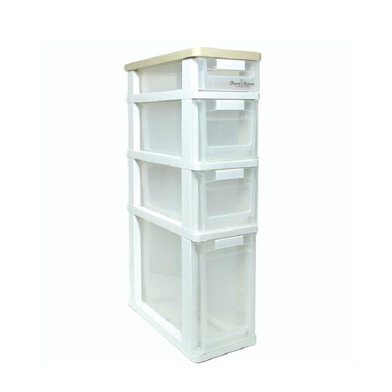 CLOVER木面窄身四層膠柜