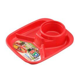 INOMATA長型  3分隔午餐盤紅
